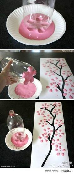 Neat! Use the bottom of a 2 liter bottle to make a flower paint stamper.