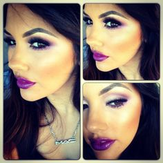 purple lips with dark hair