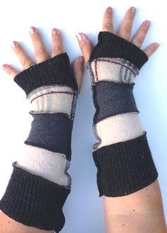 Fall, Autumn Christmas Armwarmers, Fingerless Gloves, Pulswarmer Black, Beige Grey Recycled Wool  Ecofashion OOAK Handmade in UK.