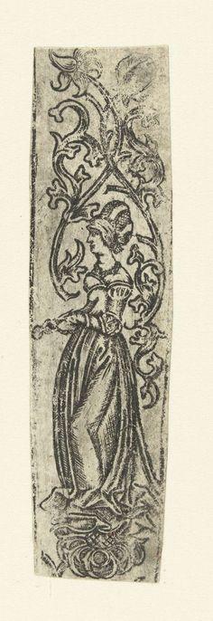 Messenheft, gedecoreerd met een vrouw met een tang in haar handen (St. Agatha?), anoniem, 1500