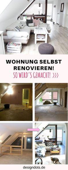 Wohnung Dachgeschoss selbst renovieren, Dachgeschoss ausbauen, Dachgeschoss ausbau, vorher nachher Bilder, renovieren vorher nachher, Wohnzimmer renovieren, sanieren