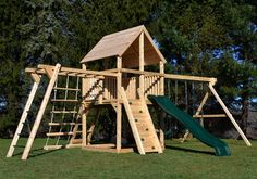 Swing Set Idea - dont like so many entrances to the fort - could overlap monkey bars with ladder outside-fun