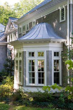 sunroom addition ranch hip roof bay window - Google Search