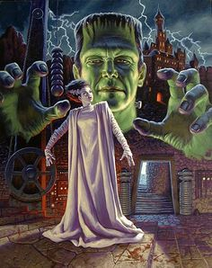 Frankenstein's Monster menacing The Bride