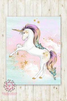 Boho Pink Rainbow Gold Stars Unicorn Wall Art Print Pink Gold Baby Girl Nursery Fantasy Watercolor Poster Room Printable Décor by Pink Forest Café W… – Rainbow Unicorn Painting, Unicorn Wall Art, Unicorn Bedroom, Baby Prints, Wall Art Prints, Gold Kindergarten, Pink Gold Nursery, Pink Forest, Unicorn Pictures