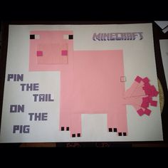 DIY Minecraft Pin the tail on the pig
