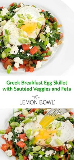 Veggies are sautéed in olive oil and seasoned with Greek spices before being topped with creamy feta and a fried egg. #breakfast #brunch #egg #healthy