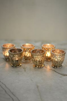 Silver Mercury Glass Votive Holders
