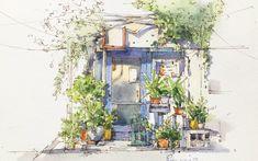 Urban Sketching, Watercolor, Anime, Painting, Drawing, Plants, Pen And Wash, Watercolor Painting, Watercolour