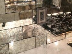 Builder's Glass Antique Mirror Backsplash installed