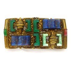 Vintage Art Deco Czech Neiger Lapis Peking Glass Buckle   Clarice Jewellery