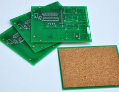 Geeky Circuit Board  Coasters - saved from e-waste. $12.00, via Etsy.