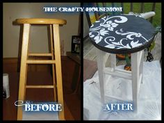 The crafty housemom: Bedside table from a bar stool