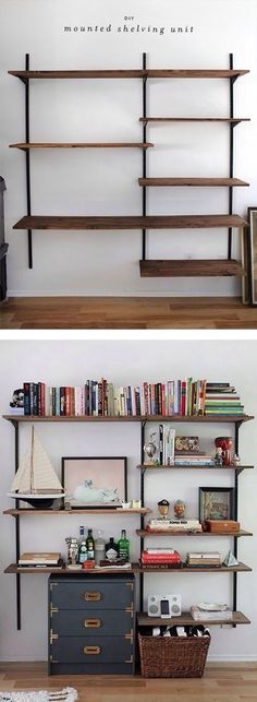 Office Design: Superb Office Wall Shelves Cabinets Diy Wall Mounted Shelving Home Office Wall Shelving Ideas: Office Wall Shelf Design Decor Room, Diy Wall Decor, Diy Home Decor, Wall Mounted Shelves, Hanging Shelves, Deco Design, Home Projects, Diy Furniture, Office Furniture
