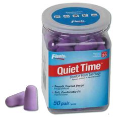 These ear plugs for sleeping come in a handle bottle -- if your spouse snores, these are a must-have addition to your medicine cabinet! :) Flent's Quiet Time foam ear plugs are super soft and great at blocking out noise without straining your ear canals.