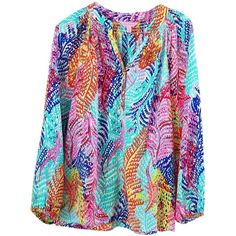 Pre-owned Lilly Pulitzer Multi-color 100silk 100% Silk Silk Elsa Top (160 CAD) ❤ liked on Polyvore