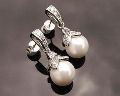 Wedding Earrings - Old Hollywood Style Pearl & Crystal Drop Earrings, Ariel Small Earrings, Pearl Drop Earrings, Stud Earrings, Old Hollywood Style, Hollywood Fashion, Pendant Set, Pearl Pendant, Ivory Pearl, Crystal Drop