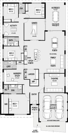 Container House - 4 bedrooms/ bathrooms/ game room/ activity room/ study/ theatre/ kitchen/ dining/ family/ laundry/ alfresco/ 2 car garage - Who Else Wants Simple Step-By-Step Plans To Design And Build A Container Home From Scratch? 4 Bedroom House Plans, Family House Plans, New House Plans, Dream House Plans, Modern House Plans, House Floor Plans, House Plans Australia, Home Design Floor Plans, Plan Design