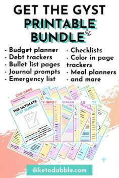 The GYST Printable bundle includes budget sheets, emergency info sheets, cleaning and maintenance checklists, meal plans, bullet journal sheets, journal prompts, debt trackers, and more Weekly Menu Planners, Monthly Budget Planner, Make Money From Home, Way To Make Money, Make Money Online, Debt Tracker, Home Maintenance Checklist, Budget Sheets, Financial Tips