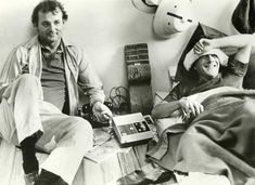 Bill Murray and Dustin Hoffman on the set of Tootsie.