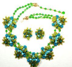 Ian St. Gielar Stanley Hagler Turquoise Green Glass Beaded Signed SET  http://www.rubylane.com