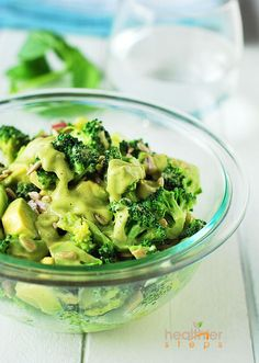 Creamy broccoli salad with a basil-avocado-lemon dressing...great salad for detoxing.