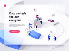 People in a team build a pie chart and interact with graphs. Landing page template. isometric illustration - Buy this stock vector and explore similar vectors at Adobe Stock Best Web Design, Web Design Trends, Interaction Design, Design Sites, Data Analysis Tools, Identity, Business Illustration, People Illustration, Flat Illustration