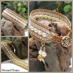"""Golden Pearl"" 5 Row Leather Wrap Bracelet by Ravengirl Designs https://www.Facebook.com/RavengirlDesigns"