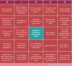 Sexist Bingo - There's even more to love in this version, since bingo cards come in randomized sets - You could add on & on to these squares -