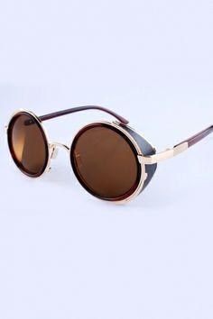 Retro Round Sunglasses with Leather Edge
