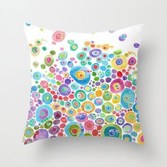 "Colorful Throw Pillow, ""Inner Circle"" abstract colorful art  teal, yellow, pink, green,  home decor, pillows, cushions, coastal decor"