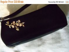 Restyled Purse Black GLAM Upcycled Krementz Brooch Bridal Party Prom Wedding Special Occasion Gift Christmas Mother's Day