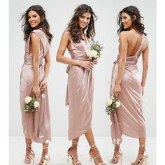 TFNC WEDDING Wrap Pencil Multiway Midi Dress (310 RON) ❤ liked on Polyvore featuring dresses, wedding dresses and brown