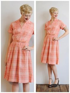 1950s Dress // Pink Carnation Dress // vintage 50s dress on Etsy, $65.00