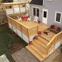 Multi-level Deck with Wide Stairs - 2 steps down to new deck area outside kitchen bay window then stairs to patio? - Picture Gallery - How to Design & Build a Deck. Deck Building Plans, Deck Plans, Pergola Plans, Pergola Kits, Patio Plan, Backyard Patio, Two Level Deck, 2 Level Deck Ideas, Back Deck Ideas