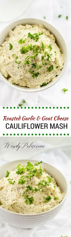 Roasted Garlic & Goat Cheese Cauliflower Mash - This Roasted Garlic and Goat Cheese Cauliflower Mash is a delicious alternative to mashed potatoes.  Make sure you check out the post for the amazing new kitchen tool I used to make it! Gluten Free, Vegetarian, Low Carb, Primal #ad