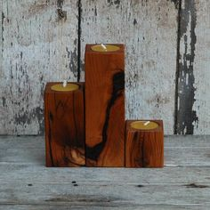 peg and awl reclaimed wood candle holders