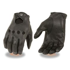 Men's American Deer skin perforated driving leather gloves with snap closure Biker Vest, Motorcycle Gloves, Motorcycle Outfit, Mtb Gloves, Leather Vest, Cowhide Leather, Real Leather, Black Leather, Leather Driving Gloves
