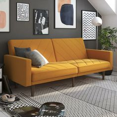 Austen Twin Split Back Convertible Sofa Sofa Furniture, Furniture Design, Mustard Sofa, Yellow Couch, Orange Sofa, Futon Bed, Sofa Beds, Sleeper Sofa, Zaha Hadid