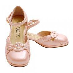 Girls Light Pink Pearl Flower Heel Dress Shoe Toddler 10-Little Girl 4