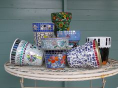 Close up of the Harlow Carr pots for charity