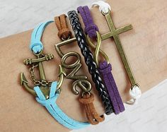 anchor braclets-cross infinite bracelet blue rope black leather bracelets personalized bracelets -best gift present N075. $7.99, via Etsy.
