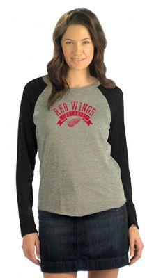 Detroit Red Wings Women's Tri Blend Long Sleeve Raglan Top- Touch by Alyssa Milano