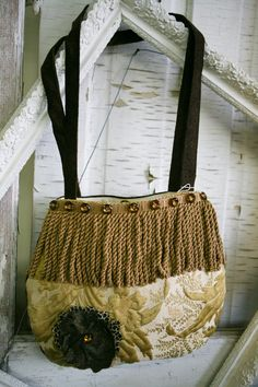 Vintage Inspired Handmade Purse in Gold and by VintageGardensKS