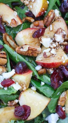 Apple Cranberry Pecan Salad with Balsamic Vinaigrette salad salad salad recipes grillen rezepte zum grillen Fancy Salads, Summer Salads, Healthy Salads, Healthy Eating, Healthy Recipes, Green Salad Recipes, Spinach Salad Recipes, Spinach Apple Salad, Ensalada Thai