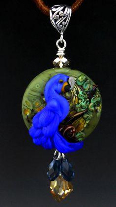 Hyacinth Macaw original custom handmade lampwork parrot bead SRA