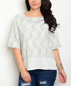 Love this Gray & White Lace Rhinestone-Accent Layered Top - Plus on #zulily! #zulilyfinds