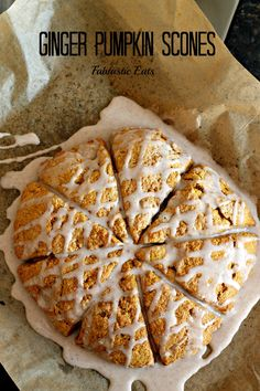 Wonderful Pumpkin Scones with a little bite of ginger! Drizzled with a creamy icing, these scones are sure to make. Köstliche Desserts, Delicious Desserts, Dessert Recipes, Yummy Food, Tasty, Pumpkin Recipes, Fall Recipes, Sweet Recipes, Pumpkin Scones