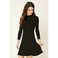 Forever21 Ribbed Mock Neck Dress ($15) ❤ liked on Polyvore featuring dresses, black, mock neck dress, ribbed dress, longsleeve dress, short sleeve dress and long sleeve dress