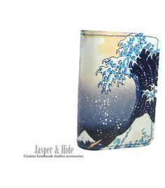 printed leather smart phone wallet custom made by JasperandHide